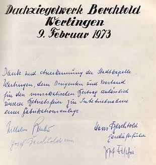 Aus dem Gästebuch der Stadtkapelle Wertingen: Dankesworte der Wertinger Unternehmerfamilie Berchtold.